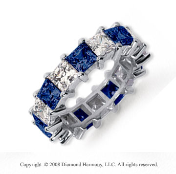 6 1/2 Carat Blue Sapphire and Diamond Platinum Eternity Band