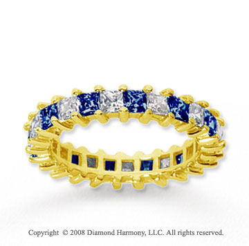 2 1/2 Carat Blue Sapphire and Diamond 14k Yellow Gold Eternity Band