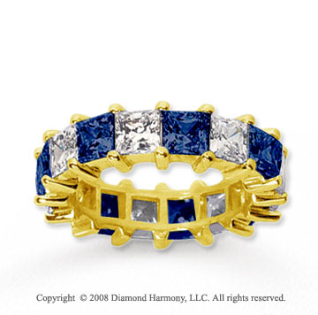 6 1/2 Carat Blue Sapphire and Diamond 18k Y Gold Eternity Band