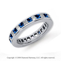 3/4 Carat Blue Sapphire and Diamond Platinum Eternity Band