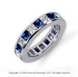 4 Carat Blue Sapphire and Diamond Platinum Eternity Band