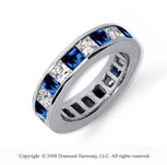 4 3/4 Carat Blue Sapphire and Diamond Platinum Eternity Band
