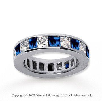 4 3/4 Carat Blue Sapphire and Diamond 14k White Gold Eternity Band