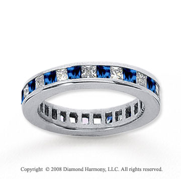 3/4 Carat Blue Sapphire and Diamond 18k W Gold Eternity Band