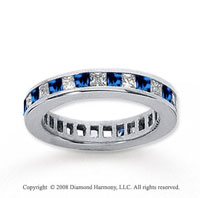 1 1/2 Carat Blue Sapphire and Diamond 18k W Gold Eternity Band