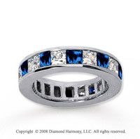 4 3/4 Carat Blue Sapphire and Diamond 18k W Gold Eternity Band