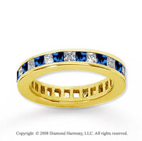 1 1/2 Carat Blue Sapphire and Diamond 14k Yellow Gold Eternity Band