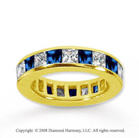 4 Carat Blue Sapphire and Diamond 14k Yellow Gold Eternity Band