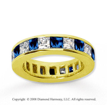4 3/4 Carat Blue Sapphire and Diamond 14k Yellow Gold Eternity Band