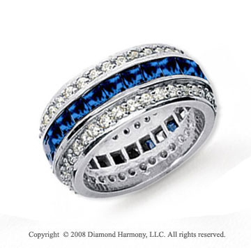 product princess ring three bands diamond engagement blue stone cut with set trilogy channel and sapphire
