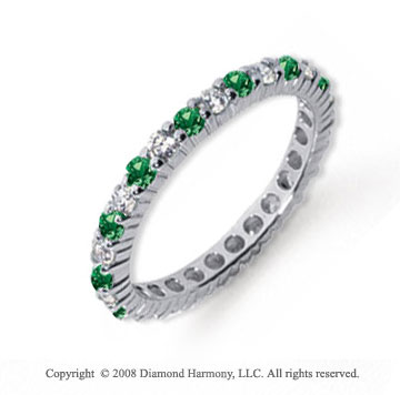 1/2 Carat Emerald and Diamond Platinum Eternity Band
