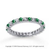 1/2 Carat Emerald and Diamond 14k White Gold Eternity Band