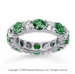 5 Carat Emerald and Diamond 14k White Gold Eternity Band