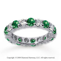 2 1/2 Carat Emerald and Diamond 18k White Gold Eternity Band