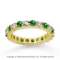 1 Carat Emerald and Diamond 14k Yellow Gold Eternity Band