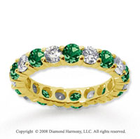 2 1/2 Carat Emerald and Diamond 14k Yellow Gold Eternity Band