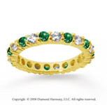 1 1/2 Carat Emerald and Diamond 18k Yellow Gold Eternity Band