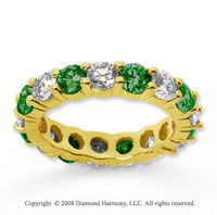 3 1/2 Carat Emerald and Diamond 18k Yellow Gold Eternity Band