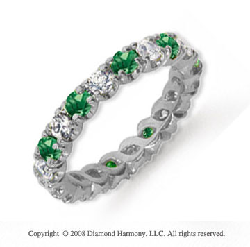 1 1/2 Carat Emerald and Diamond Platinum Eternity Band