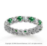 1 1/2 Carat Emerald and Diamond 14k White Gold Eternity Band