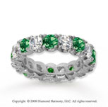 4 1/2 Carat Emerald and Diamond 18k White Gold Eternity Band
