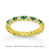 3/4 Carat Emerald and Diamond 14k Yellow Gold Eternity Band