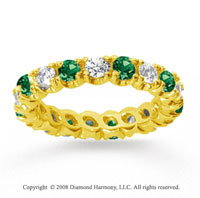 2 Carat Emerald and Diamond 18k Yellow Gold Eternity Band