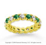 2 1/2 Carat Emerald and Diamond 18k Yellow Gold Eternity Band