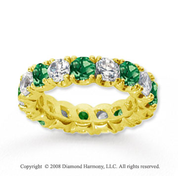 4 1/2 Carat Emerald and Diamond 18k Yellow Gold Eternity Band