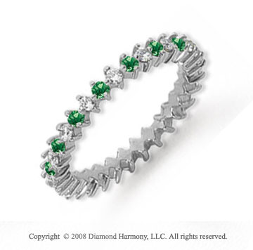 3/5 Carat Emerald and Diamond Platinum Eternity Band