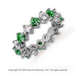 3 1/2 Carat Emerald and Diamond Platinum Eternity Band