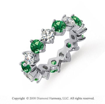 4 Carat Emerald and Diamond Platinum Eternity Band