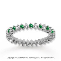 3/5 Carat Emerald and Diamond 14k White Gold Eternity Band