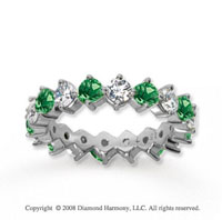 2 1/2 Carat Emerald and Diamond 14k White Gold Eternity Band