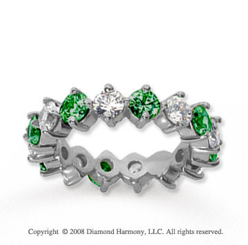 3 Carat Emerald and Diamond 14k White Gold Eternity Band