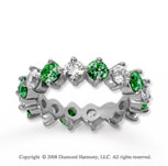 3 1/2 Carat Emerald and Diamond 14k White Gold Eternity Band