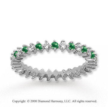 3/5 Carat Emerald and Diamond 18k White Gold Eternity Band