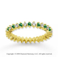 3/5 Carat Emerald and Diamond 14k Yellow Gold Eternity Band