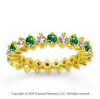 1 1/2 Carat Emerald and Diamond 14k Yellow Gold Eternity Band
