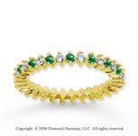 3/5 Carat Emerald and Diamond 18k Yellow Gold Eternity Band
