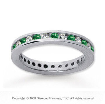 3/4 Carat Emerald and Diamond 18k White Gold Eternity Band
