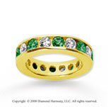 3 Carat Emerald and Diamond 14k Yellow Gold Eternity Band