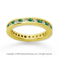 3/4 Carat Emerald and Diamond 18k Yellow Gold Eternity Band
