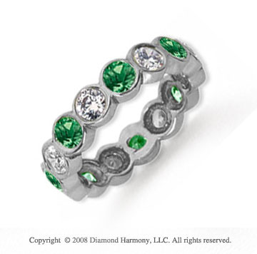 2 Carat Emerald and Diamond Platinum Eternity Band