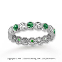 1 Carat Emerald and Diamond 14k White Gold Eternity Band