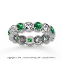 2 Carat Emerald and Diamond 14k White Gold Eternity Band