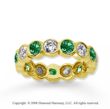 2 Carat Emerald and Diamond 14k Yellow Gold Eternity Band