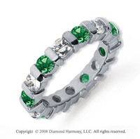 2 1/2 Carat Emerald and Diamond Platinum Eternity Band