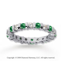 1 Carat Emerald and Diamond 18k White Gold Eternity Band