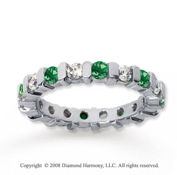 1 1/2 Carat Emerald and Diamond 18k White Gold Eternity Band